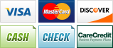 We accept Visa, MasterCard, Discover, Cash, Check and CareCredit.